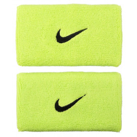 Nike Swoosh Double Wide Wristband - Atomic Green/Black logo