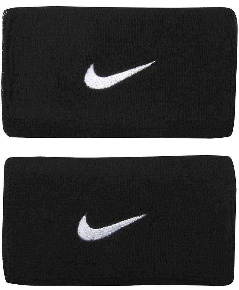 Nike Swoosh Double Wide Wristband - Black/White logo